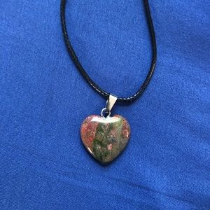 Jewelry - Unakite Jasper Heart Stone Necklace